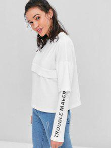 Blanco Letra Twinset L Graphic Sudadera Faux zxcAY84q