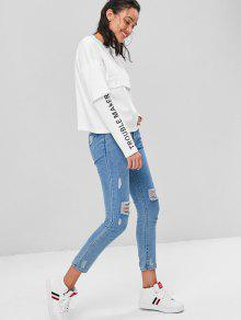Letra Blanco Faux Twinset Sudadera L Graphic YWrwagn7qY