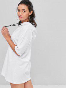 لون خالص مقنعين اللباس - أبيض
