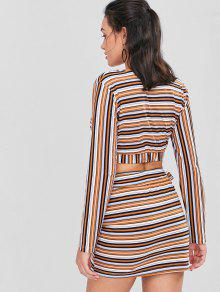 46c2d52c1e 49% OFF] 2019 Striped Crop Top And Skirt Set In MULTI | ZAFUL