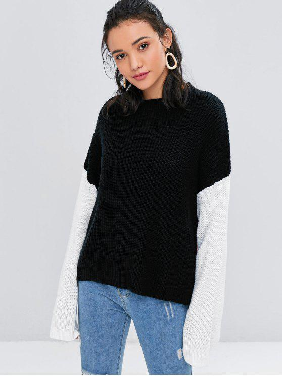 fancy Crew Neck Color Block Sweater - BLACK ONE SIZE