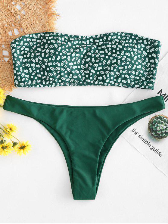 Conjunto de Bikini Bandeau Contraste Floral - Bosque Verde Mediana L