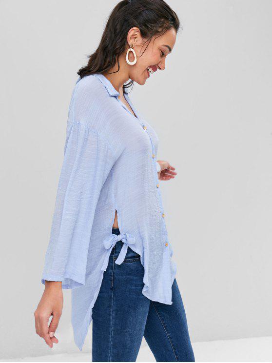 Botón arriba blusa alta baja - Azul Claro S