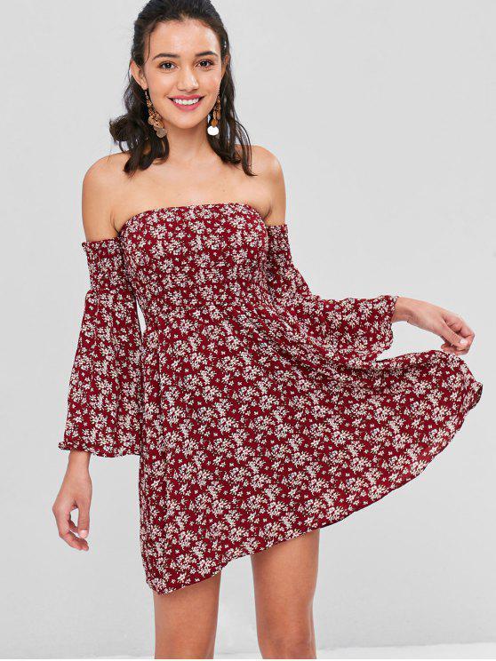 f7d9cbf8aaf 30% OFF] 2019 Off Shoulder Flare Sleeves Floral Dress In RED WINE ...