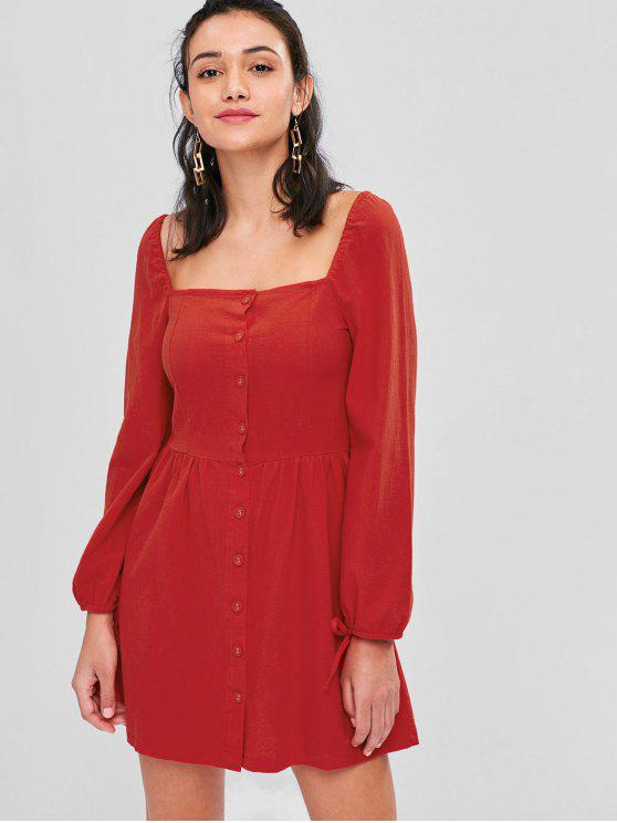 trendy Square Neck Button Up Dress - RED M
