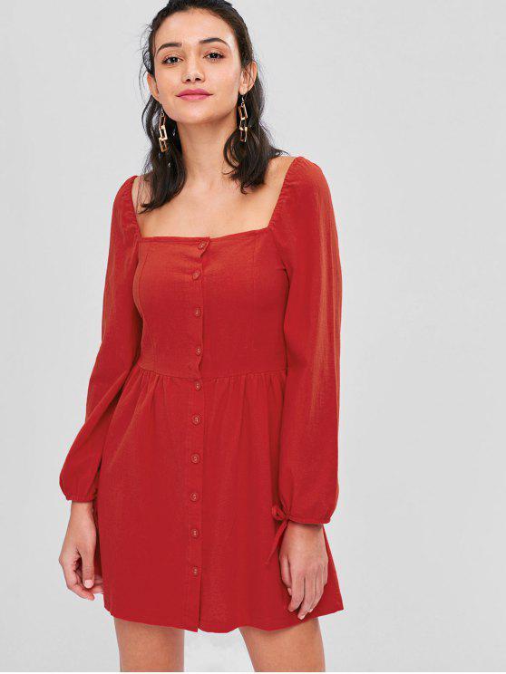 Botão de pescoço quadrado vestido - Vermelho M