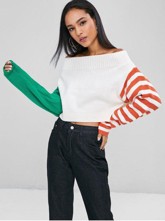 Stripes Slit Off Shoulder Sweater - Blanco L