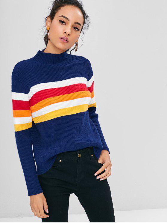 Stehkragen Farbblock Pullover - Kadettenblau Eine Größe
