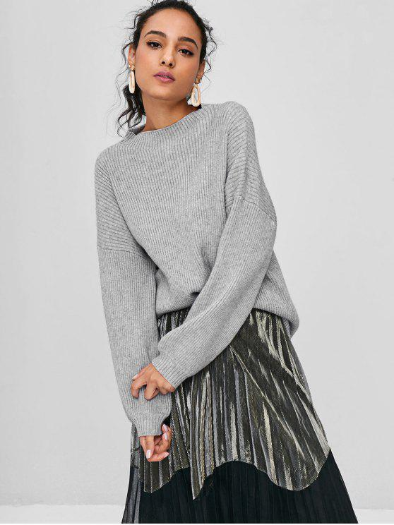 new Lantern Sleeves Ribbed Sweater - GRAY ONE SIZE