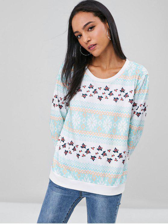 latest Zig Zag Floral Sweatshirt - MULTI M