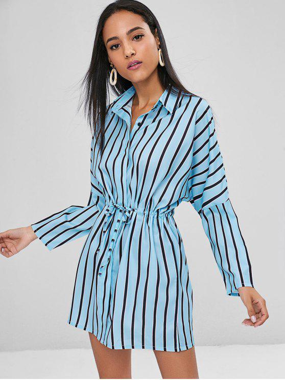 fancy Button Down Stripes Casual Dress - LIGHT BLUE S