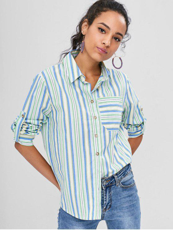 outfits Stripes Shirt With Pocket - MULTI M