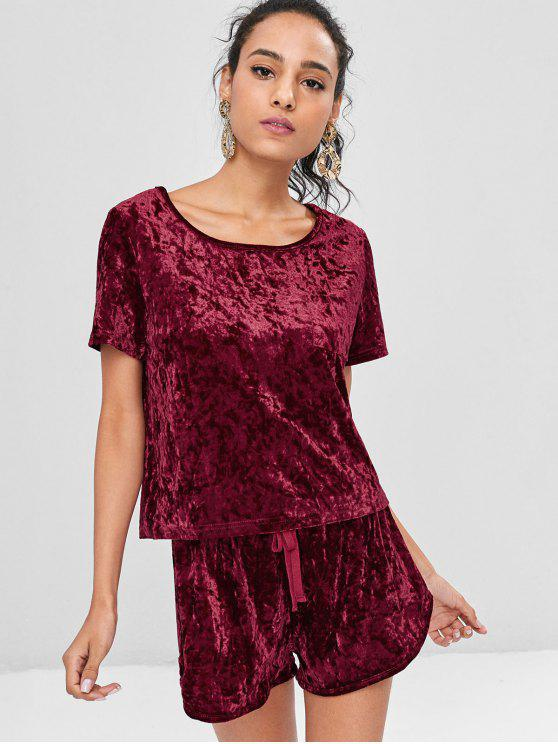 Crushed Samt Schleife Shorts Set - Roter Wein L