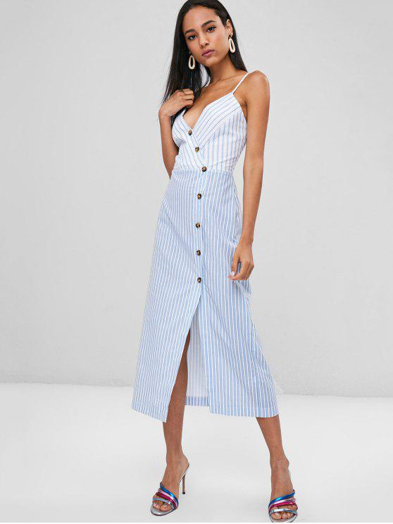 fashion Striped Button Up Cami Dress - PASTEL BLUE M