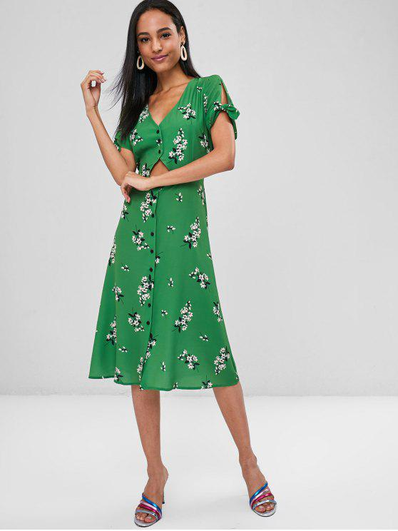 chic Cut Out Buttoned Floral Dress - GREEN M