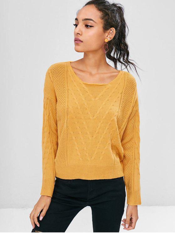 fancy Round Neck Cable Knit Sweater - GOLDEN BROWN ONE SIZE
