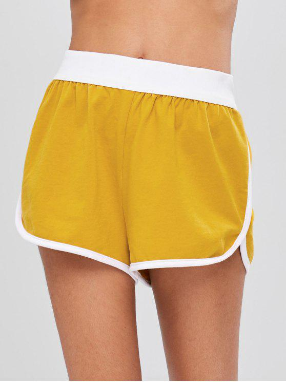Mitte Taille Piping Shorts - Goldgelb L
