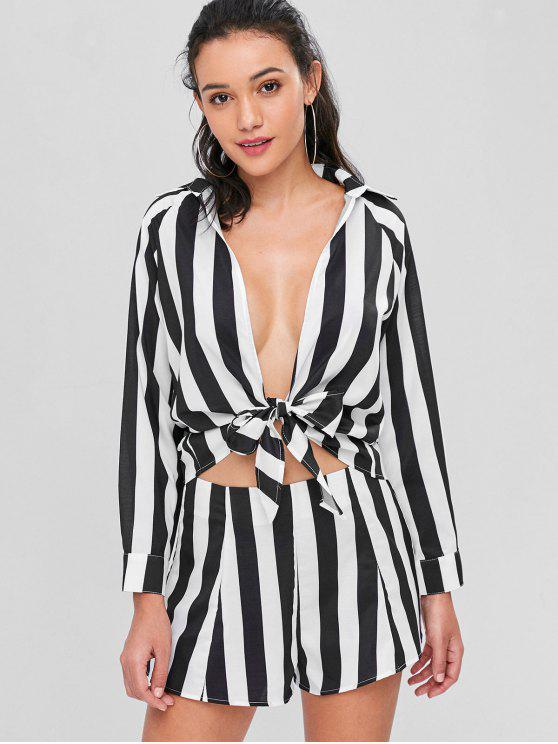 womens Striped Tie Front Shirt and Shorts Co Ord Set - MULTI M