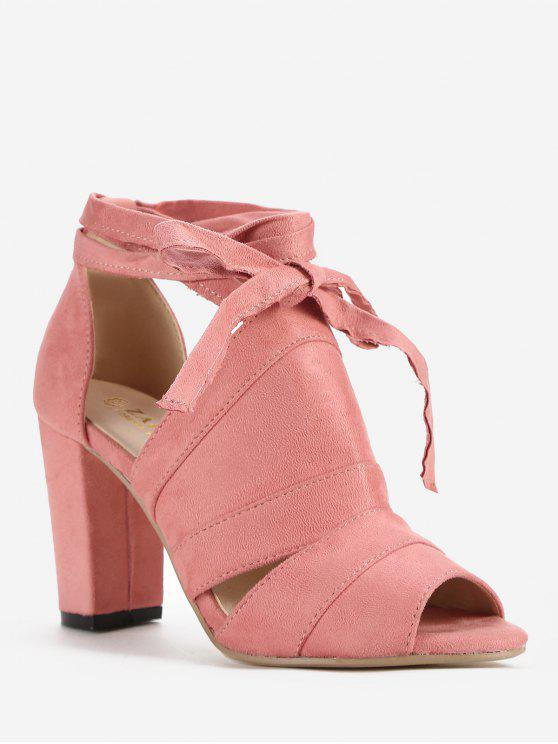lady Lace Up Ankle Strap Party Peep Toe Sandals - LIGHT PINK 36