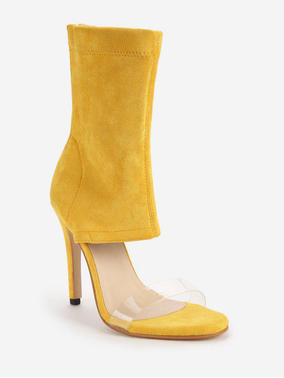 Correia Transparente Chic Salto Alto Botas Sandálias - Amarelo 40