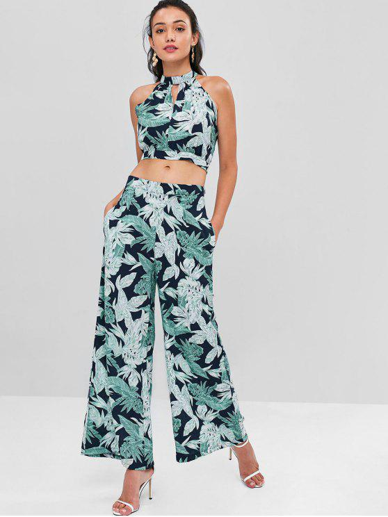 best Leaves Crop Top and Pants Set - LIGHT SEA GREEN XL