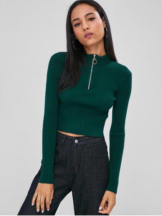 Pescoço de suporte com nervuras cropped suéter camisola - Verde Médio do Mar L