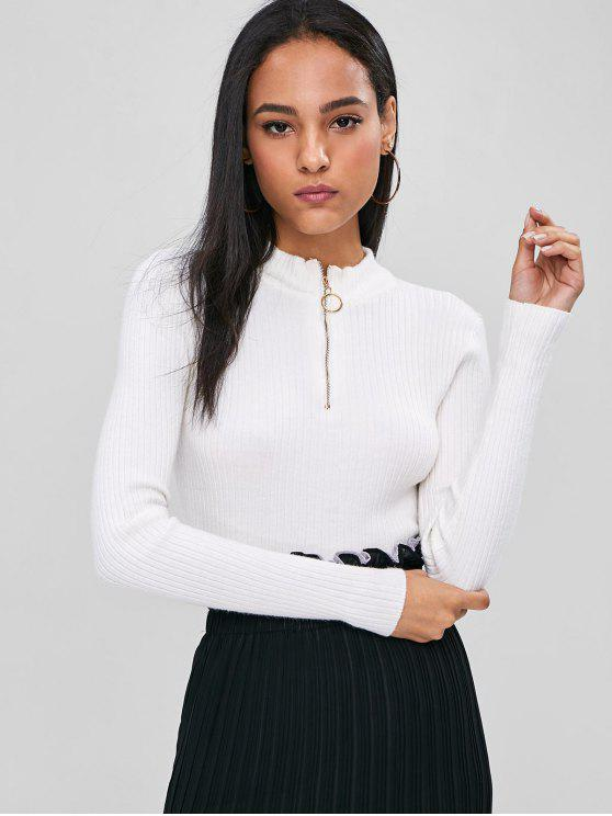 Pescoço de suporte com nervuras cropped suéter camisola - Branco L