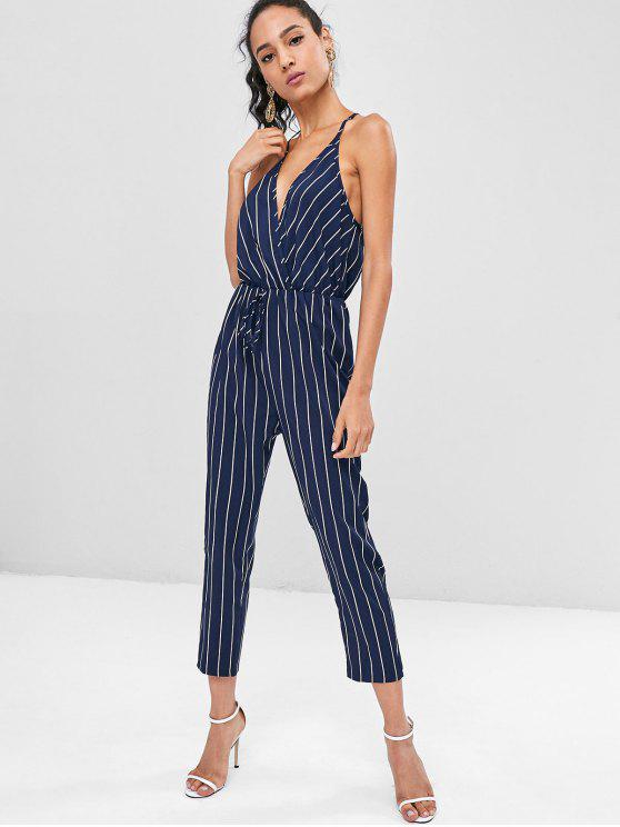 affordable Surplice Striped Tapered Jumpsuit - DEEP BLUE S