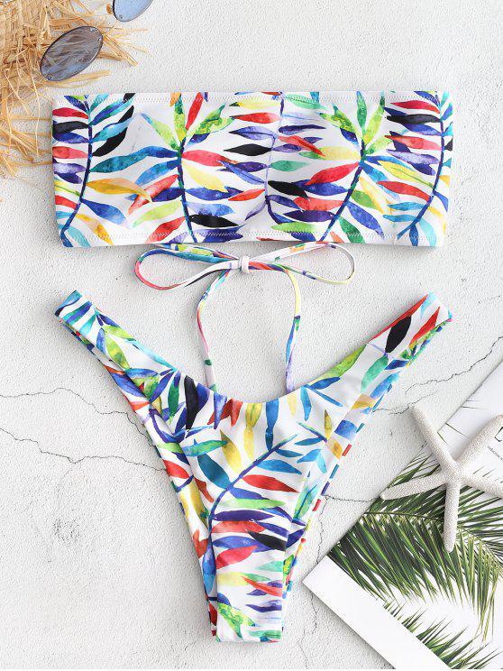 lady Leaf Print Lace-up Bandeau Bikini Set - WHITE L