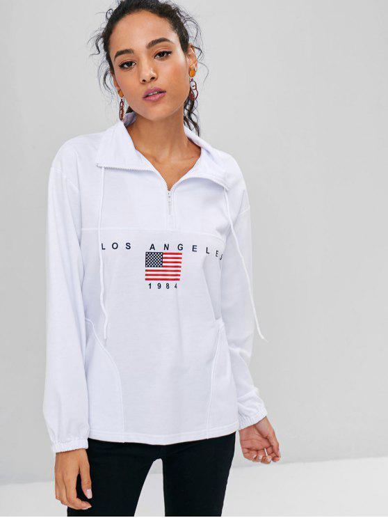 Half Zip American Flag Sweatshirt   White M by Zaful