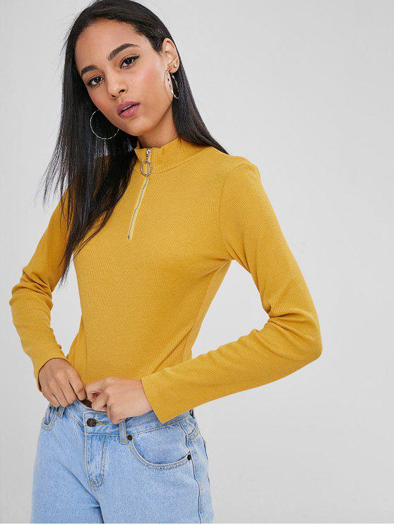 women's Half Zip Cropped Tee - BRIGHT YELLOW S