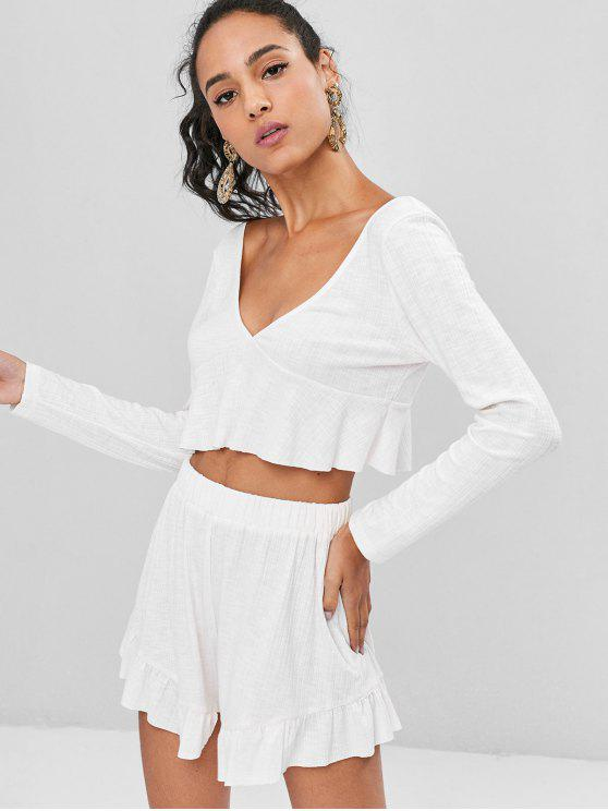 fancy Long Sleeve Crop Top and Shorts Matching Set - WHITE S