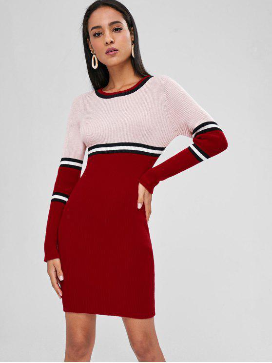 Vestido de suéter con panel de rayas de Bodyson - Multicolor L