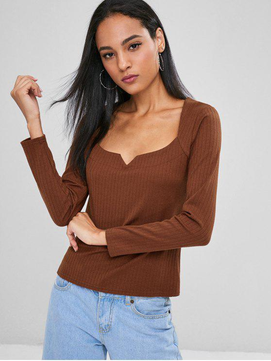 women Sweetheart Ribbed Top - LIGHT BROWN L