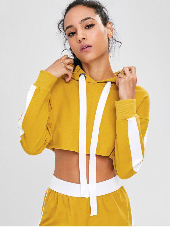 fancy Two Tone Cropped Hoodie - GOLDEN BROWN L