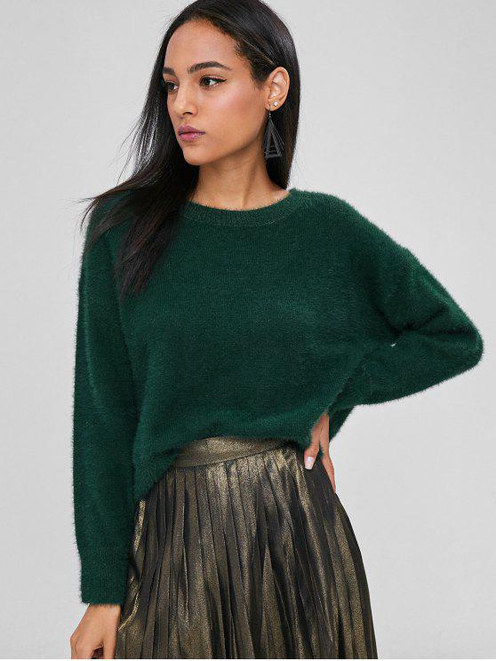 online Loose Fuzzy Textured Sweater - DEEP GREEN ONE SIZE