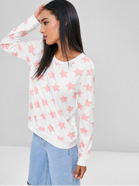 best Contrasting Stars Sweatshirt - WHITE S