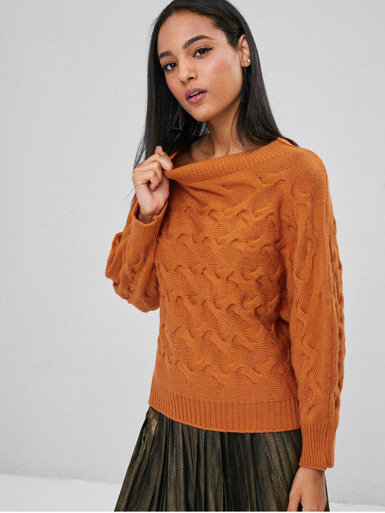 50c319fdbec3 49% OFF  2019 Batwing Cable Knit Pullover Sweater In LIGHT BROWN ...