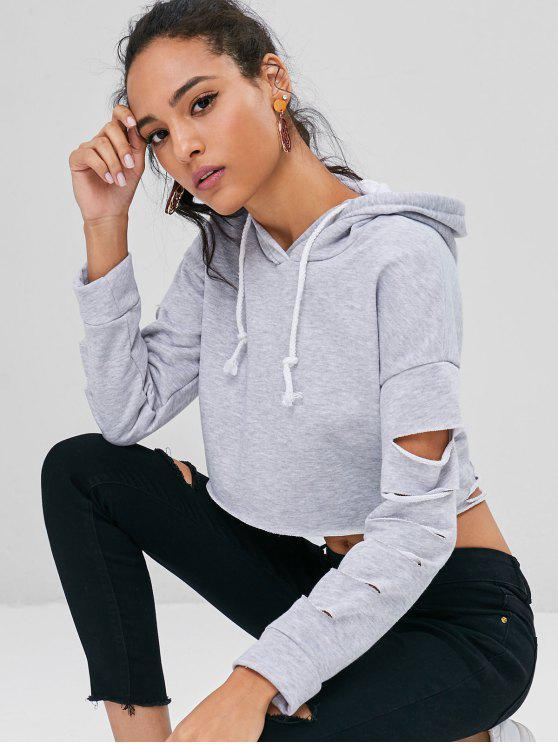 best Destroyed Cropped Hoodie - LIGHT GRAY L