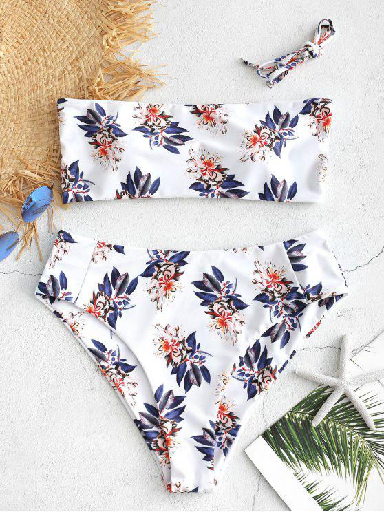 shops Floral Boning High Waisted Bikini Set - WHITE L