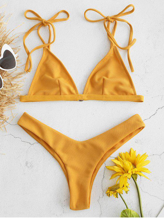 hot Ribbed Bralette Bikini Set - BRIGHT YELLOW M