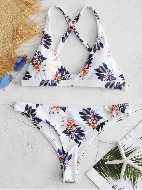 shops Floral Criss Cross Bikini Set - WHITE L