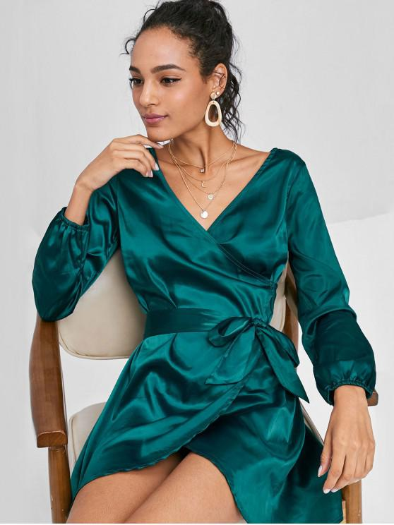 affordable Long Sleeve Wrap Mini Satin Dress - GREENISH BLUE L
