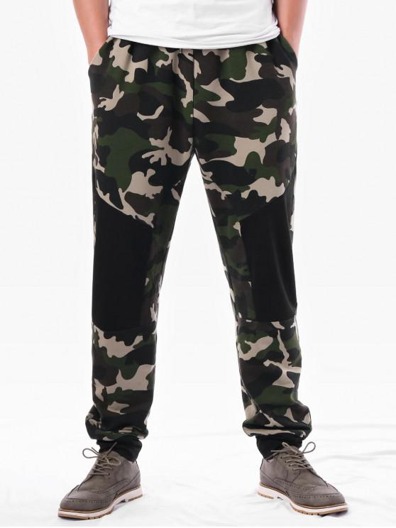 fancy Camo Panel Design Drawstring Waist Pants - ARMY GREEN 2XL
