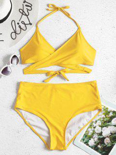 Plus Size High Rise Wrap Bikini Set - Sun Yellow 1x