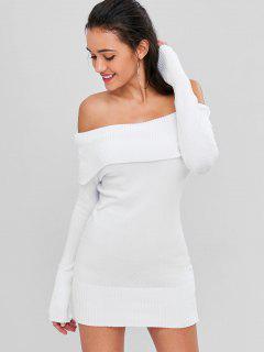 Off Shoulder Overlay Sweater Dress - Milk White
