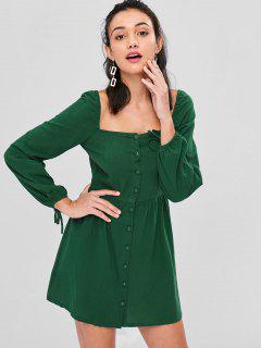 Vestido Con Cuello Redondo Y Botones - Mar Verde Mediana L