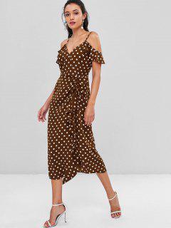 Polka Dot Cami Maxi Prom Dress - Sepia M