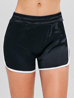 Shiny Jersey Dolphin Running Shorts - Black L