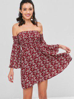Off Shoulder Flare Sleeves Floral Dress - Red Wine M